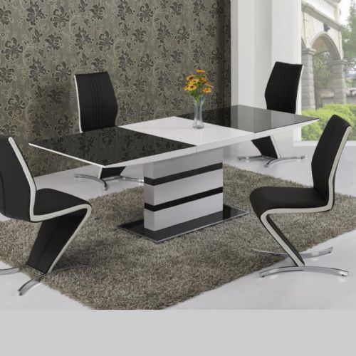JP DT 2104 Dining table (Large)(160-220cm )& JPCH601 Plush Black /White Strip Chairs  BY Jesse plana